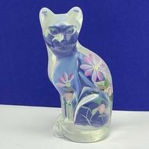 Fenton cat figurine kitten signed glass flower floral opalescent depress... - $67.54