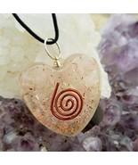 ORGONE HEART SHAPE PENDANT ROSE QUARTZ LOVE STONE HEART CHAKRA CLEANSING - $35.31