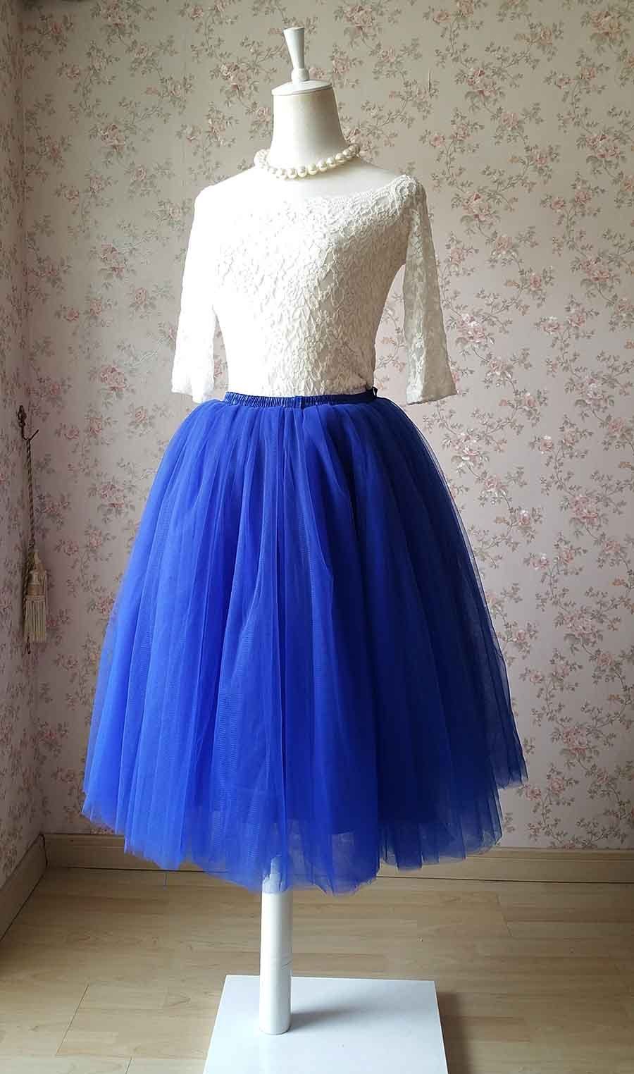 Cobalt Blue Midi Tulle Skirt 6 Layered Tulle Tutu Skirt Blue Ballerina Skirt
