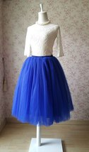 Mid-Calf Cobalt Blue Tulle Skirt Fluffy 7-Layer Adult Tutus Blue Petticoat NWT