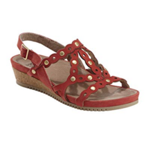 Earth Leather or Suede Cut-out Wedges, Red, 9 M - $49.49