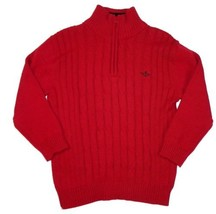 Boy's Sweater Dockers Cable Knit 1/4 Zip Pullover Long Sleeve Cotton Red NEW