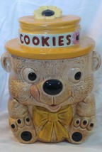 vtg 70s ceramic cookie jar bear hat tongue out - $58.04