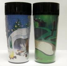LOT OF (2) STARBUCKS COFFEE CO 1997 THERMO SERV 16 oz TRAVEL TUMBLERS GO... - $44.61