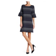 Navy & Ivory Stripe Short Bell Sleeve Dress, Size L MAX STUDIO NWT - $38.11