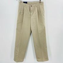 Chaps Boys Chinos Pants Beige Adjustable Waist Wrinkle Free Pleated 16 H... - $18.80