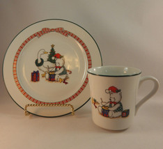 Anchor Hocking Holiday Memories Christmas Cup and Salad Plate - $12.99