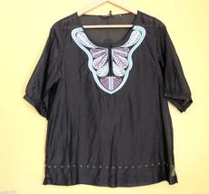 NWT BCBG Max Azria Black Cotton Silk Swim Cover Up Embroidered Blouse Top S $180 - $46.80