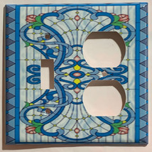 Stained blue glass art Light Switch Outlet Wall Cover Plate Home Decor image 6