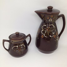VTG Mid Century Japan Set Brown Orange Coffee Creamer & Sugar Bowl Hand ... - $18.91