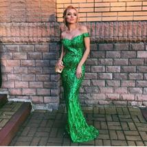 Sexy Shiny Sequin Retro Maxi Party Dress Off Shoulder Long Lining Low Cut Floor  image 1