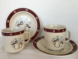 Lot of 2 sets Mr. & Mrs Snowman Mugs Dessert Plate ROYAL SEASONS MICRO/O... - $14.84