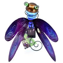 Painted Metal & Glass Solar Powered Light Garden Decoration Dragonfly Decor image 5