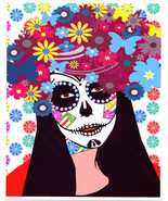 Sugar skull flower girl digital art print Day Of The Dead Dia de Los Mue... - $7.99