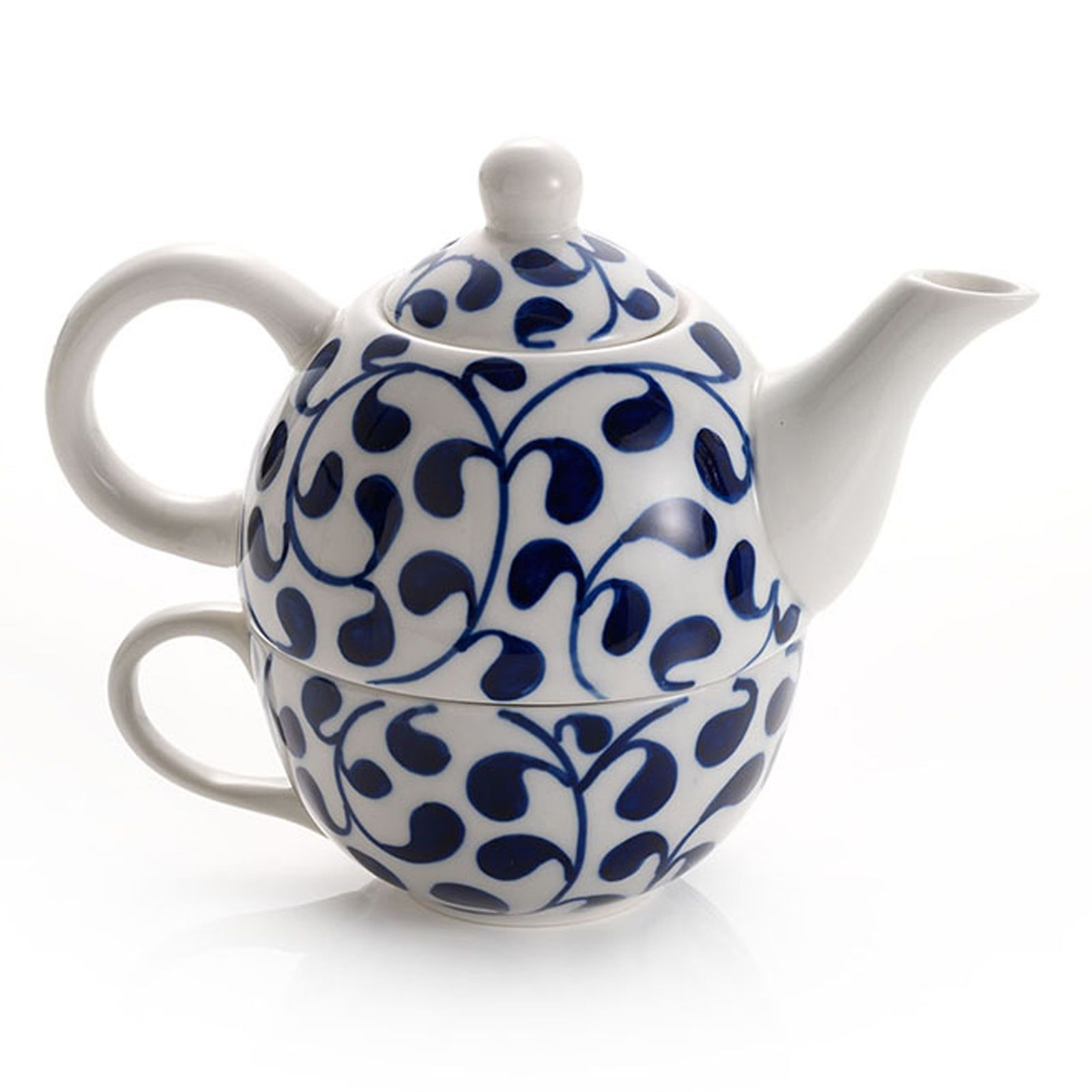 Tea Set for One Blue White Ceramic Porcelain Teapot Cup Hot Drink Mug