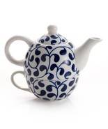 Tea Set for One Blue White Ceramic Porcelain Teapot Cup Hot Drink Mug - $48.46