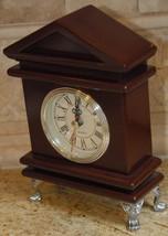 SHELF MANTEL CLOCK WOOD CASE SILVER TONED HARDWARE FOOTED FREEMASON COLO... - $34.99