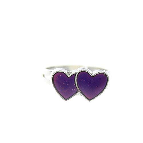 Double Heart Mood Ring - One Ring with Random Color and Design