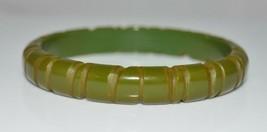 VTG Olive Green BAKELITE TESTED Carved Bangle Bracelet (B) - $198.00