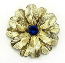 Vintage 60's Textured Gold Tone Leaf Blue Rhinestone Brooch - $17.82