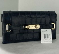 Coach Wallet Swagger Black Leather Croc Embossed 53963 Flap Snap W20 - $68.59