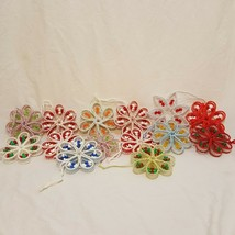 "Lot of 14 Christmas Ornaments Plastic Canvas Vintage 3"" Handmade Flowers - $33.56"