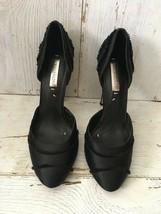 "BCBG Max Azria Black Satin/Fabric 5"" Heels Size 8  - $24.74"
