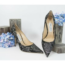 Jimmy Choo Love 100MM Silver Black Floral Brocade High Heel Pump Shoes 37.5 NIB - $415.31