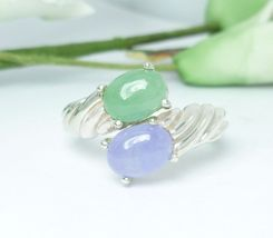 Green and Lavender Jade Ribbed Bypass Sterling Ring Size 7 - $49.00