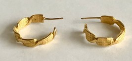 "Vintage Textured Gold Tone Hoop Pierced Earrings 3/4"" Diameter - $14.84"