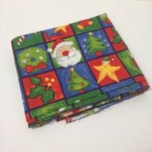 "1.5 Yards Christmas Fabric 45"" wide Snowman Santa Squares JoAnn Fabrics - $12.59"