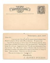 Scott UX5 1876 Postal Card Clean Face L Banks Wilson Grocer Philadelphia PA - $9.95