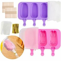 Silicone Popsicle Molds with Lid 3 Cavities Homemade Ice Pop 2 Pack - $8.90