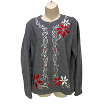 Croft & Barrow Womens Embroidered Fleece Full Zip Sweater Size Large - $18.99
