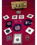 ☆JUNK DRAWER LOT>EAGLE NECKLACE☆PROOF COINS+SLAB COIN/GOLD$100/SILVER+MU... - $33.35