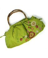 Green Beaded & Sequin Cotton Purse w Bamboo Handles - Vintage Stock - He... - $28.00