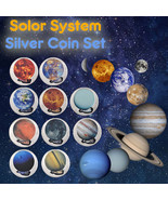 WR Solar System 10 Planets Colored Silver Coin Set Collection Educationa... - $28.80
