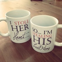 His and Hers Matching Coffee Mug Cup Set - Stealing Heart and Last Name ... - $24.99