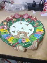 """Fitz and Floyd Wreath and Bear Tray """"Cookies for Santa"""" - $11.91"""
