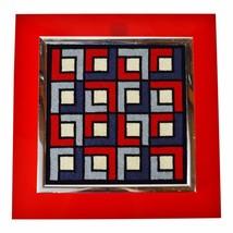 Mid Century Modern Acrylic Backer Framed Geometric Needlepoint Art - $495.00