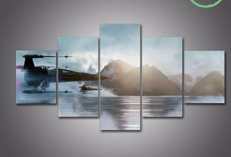 Used, Star Wars X-Wing Water Five Piece Large Framed Canvas Print Home Decor Art for sale  USA