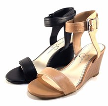 Jessica Simpson Cristabel Buff Leather Wedge Ankle Strap Sandals - $55.20