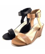 Jessica Simpson Cristabel Buff Leather Wedge Ankle Strap Sandals Size 7.5 - $48.30