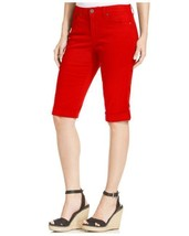STYLE & CO Denim Red Cotton Mid Rise Cuffed Capri Jeans NWT 16 - $14.51