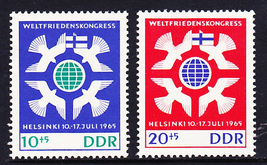 1965 Peace Congress Germany DDR Set of 2 Postage Stamps Catalog B132-33 MNH