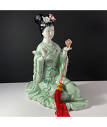GEISHA PORCELAIN STATUE Asian sculpture figurine antique Japan jade gree... - $222.75