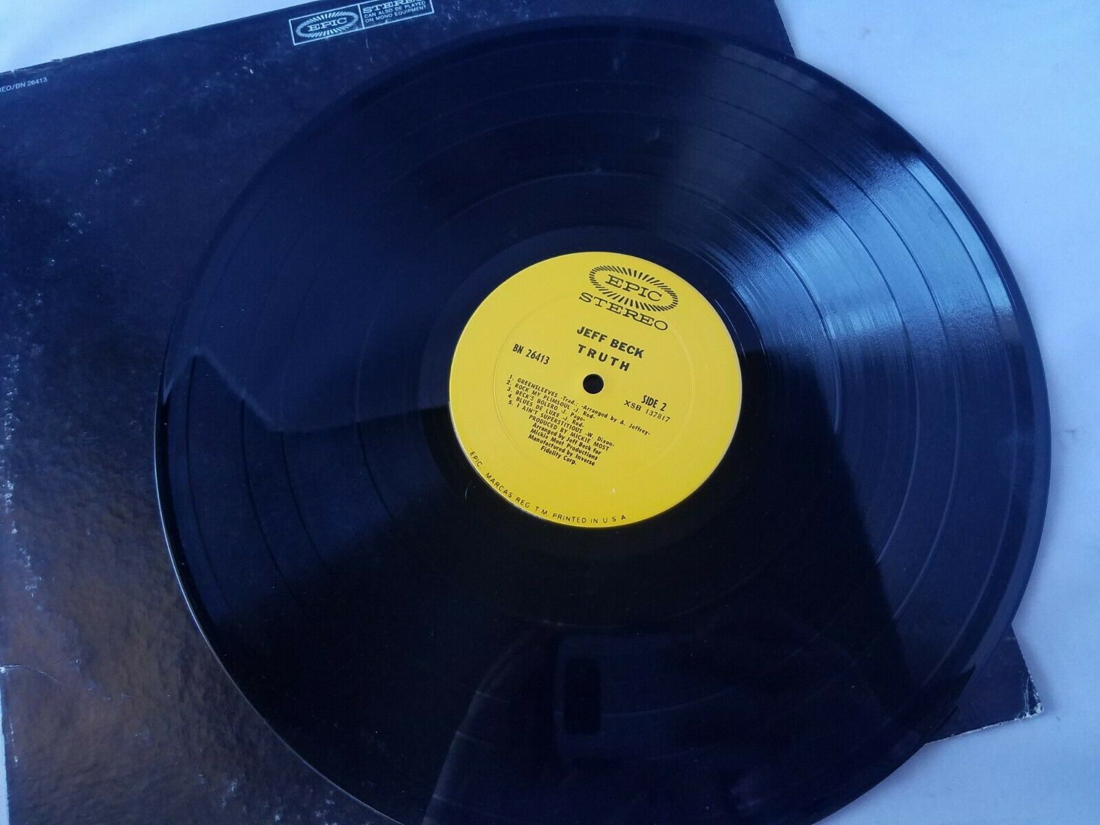 Jeff Beck Truth Vinyl Record Vintage 1973 Epic Stereo BN-26413