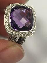 Pre Owned David Yurman 11mm 925 Sterling Silver Albion Amethyst & Diamon... - $439.00
