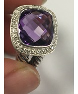 Pre Owned David Yurman 11mm 925 Sterling Silver Albion Amethyst & Diamon... - $439.00