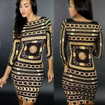 Sexy Novelty Chain Printed Ladies Bodycon Dress - $28.78